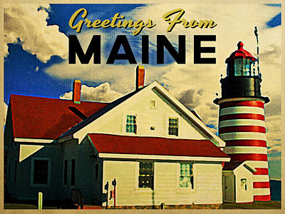 Vintage Maine Lighthouse Poster by Flo Karp
