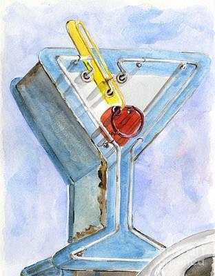 Vintage Neon- Martini Glass Poster by Sheryl Heatherly Hawkins