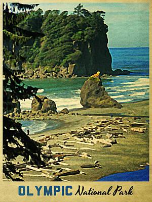Vintage Olympic National Park Washington Poster by Flo Karp
