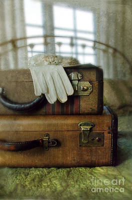 Vintage Suitcases On Brass Bed Poster by Jill Battaglia