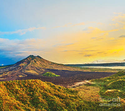 Crater Lake Twilight Poster featuring the photograph Volcano Batur by MotHaiBaPhoto Prints