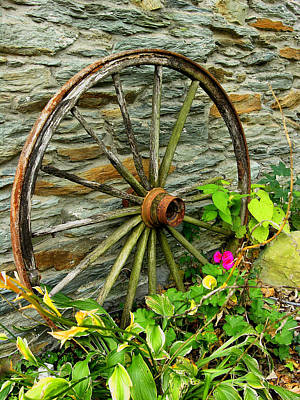 Wagon Wheel And Stone Wall Poster by Steven Ainsworth