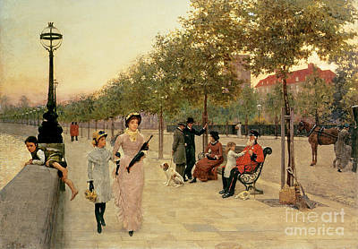 Walk Along The Embankment At Chelsea Poster by Frederick Brown