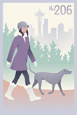 Walking The Dog In Seattle Poster by Mitch Frey