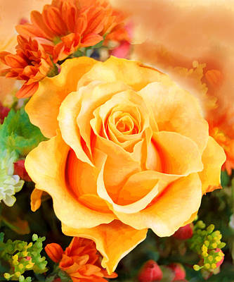 Water Color Yellow Rose With Orange Flower Accents Poster by Elaine Plesser
