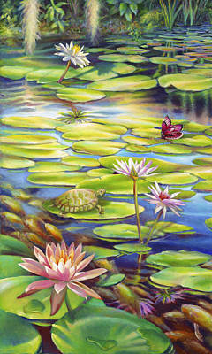 Water Lilies At Mckee Gardens I - Turtle Butterfly And Koi Fish Poster by Nancy Tilles