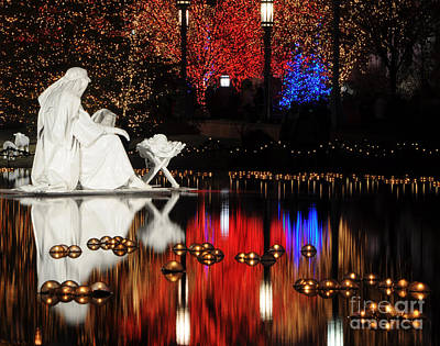 Water Christmas Nativity Scene At Night Poster by Gary Whitton