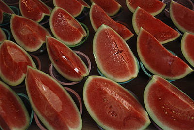Watermelon Slices Sold At A Market Poster by Todd Gipstein