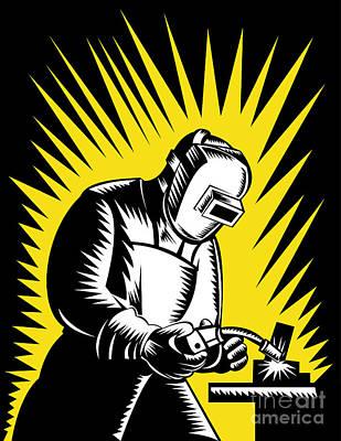 Welder Metal Worker Welding Retro  Poster by Aloysius Patrimonio