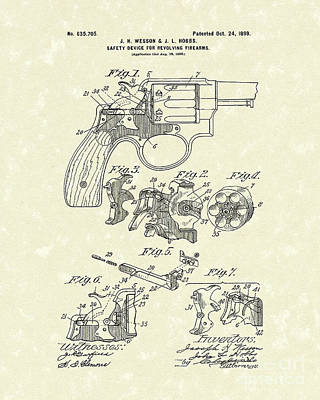 Wesson And Hobbs Revolver 1899 Patent Art Poster by Prior Art Design