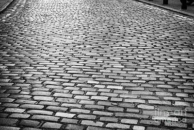 Wet Cobblestoned Huntly Street In The Union Street Area Of Aberdeen Scotland Poster by Joe Fox