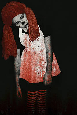 What Is Black And White And Red All Over - Zombie Raggedy Ann Poster by Lisa Knechtel