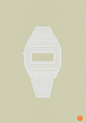 White Electronic Watch Poster by Naxart Studio