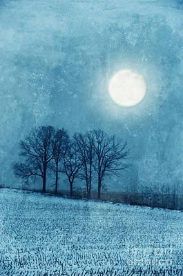 Winter Moon Over Farm Field Poster by Jill Battaglia