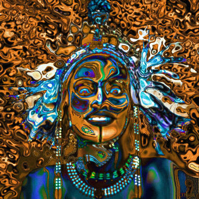 Wodaabe Blue Poster by Jann Paxton