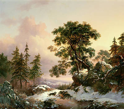 Wolves In A Winter Landscape Poster by Frederick Marianus Kruseman