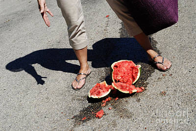 Woman Standing By Broken Watermelon On Asphalt Poster by Sami Sarkis