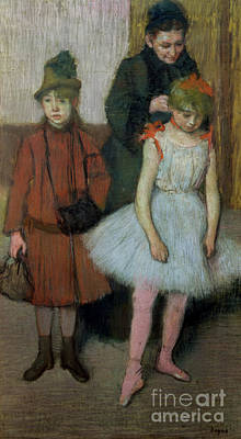 Woman With Two Little Girls Poster by Edgar Degas