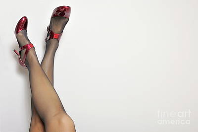 Woman's Legs With High Heels On Wall Poster by Sami Sarkis
