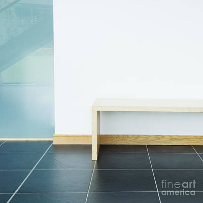 Wooden Bench In Modern Office Poster by Iain Sarjeant