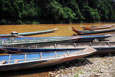 Wooden Boat On River In Laos Poster by Thepurpledoor