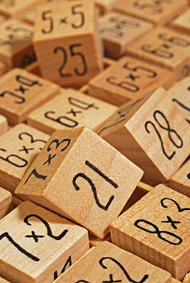 Wooden Number Puzzle Poster by David Gould