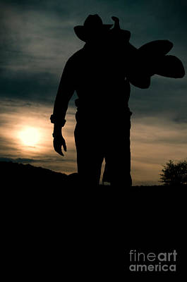Working Man Silhouette At Sunset - Cowboy Calling It A Day Poster by Andre Babiak