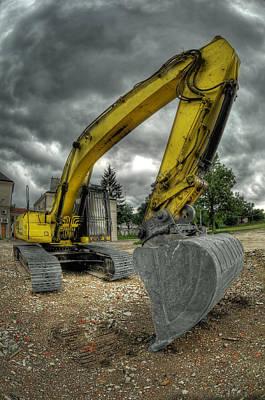 Yellow Excavator Poster by Jaroslaw Grudzinski