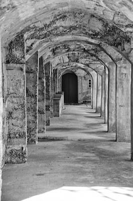Archway At Moravian Pottery And Tile Works In Black And White Poster by Bill Cannon