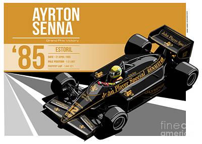 Ayrton Senna - 1985 Estoril Poster by Evan DeCiren