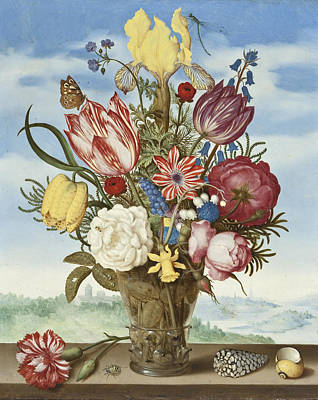Bouquet Of Flowers On A Ledge Poster by Ambrosius the Elder Bosschaert