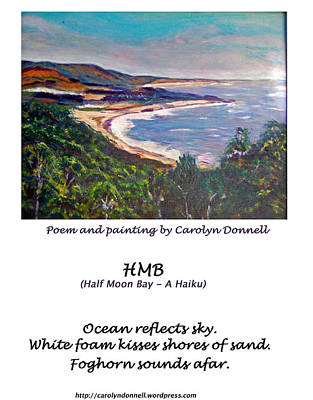Half Moon Bay - A Haiku Poster by Carolyn Donnell