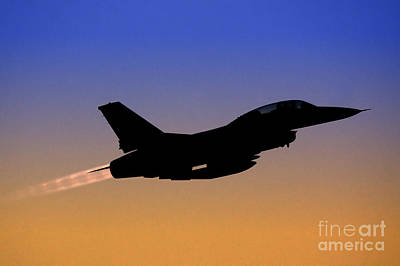 Iaf F-16b Fighter Jet At Sunset Poster by Nir Ben-Yosef