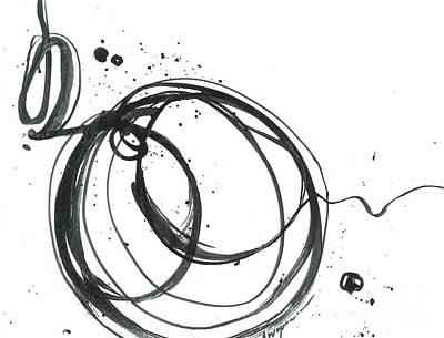Inward - Revolving Life Collection - Modern Abstract Black Ink Artwork Poster by Patricia Awapara