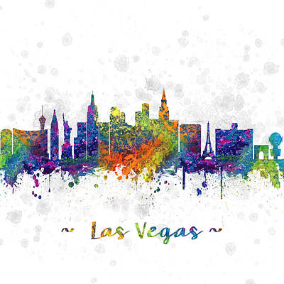 Las Vegas Nevada Skyline Color 03sq Poster by Aged Pixel