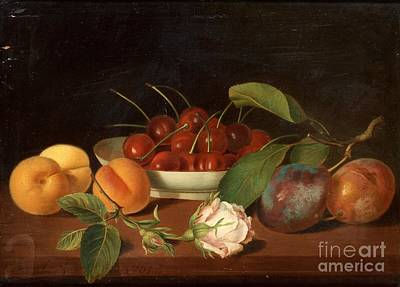 Still Life With Fruits And Flowers Poster by Justus Juncker