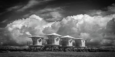 Towers Waiting For Summer  Black And White Poster by Peter Tellone