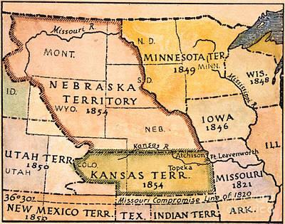 Kansas-nebraska Map, 1854 Poster by Granger