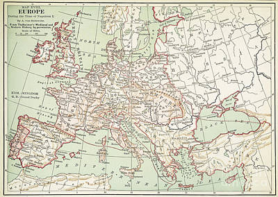 Map Of Europe, C1812 Poster by Granger