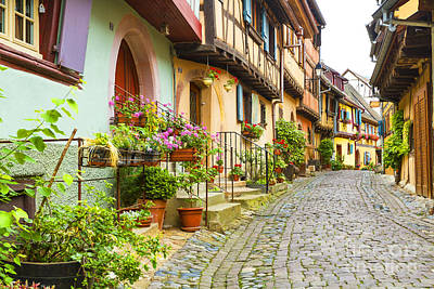 Half-timbered House Of Eguisheim, Alsace, France 073029 Poster by Marco Arduino