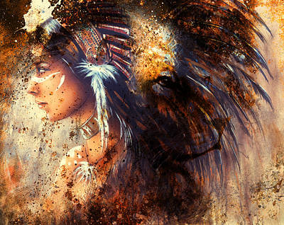 Indian Woman Wearing  Feather Headdress With Lion And Abstract Color Collage. Poster by Jozef Klopacka