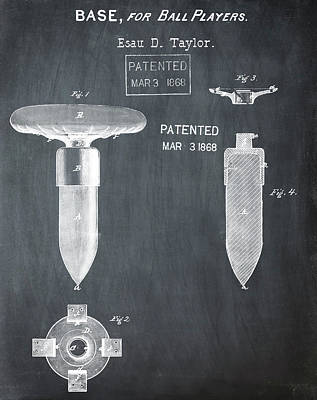 1868 Base For Baseball Players Patent In Black Poster by Bill Cannon