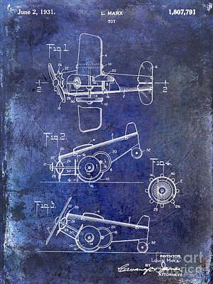 1931 Toy Airplane Patent Poster by Jon Neidert