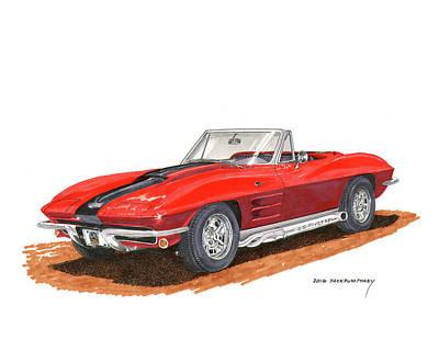 1963 Corvette Stingraw Roadster Poster by Jack Pumphrey