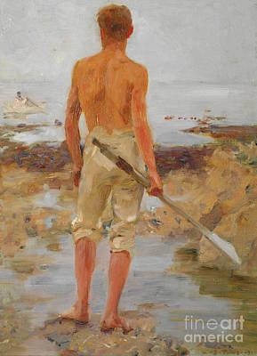 A Boy With An Oar  Poster by Henry Scott Tuke