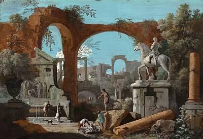 A Capriccio Of Roman Ruins Poster by Marco Ricci