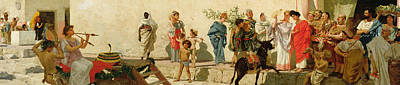 A Roman Street Scene With Musicians And A Performing Monkey Poster by Modesto Faustini