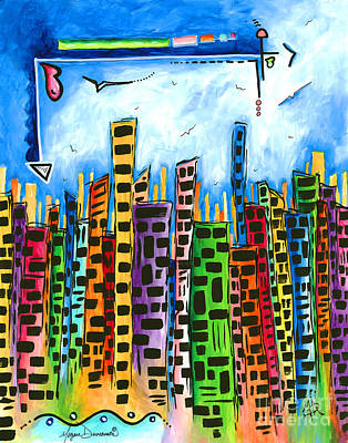 Abstract Pop Art Style Unique Cityscape Skyline Painting By Megan Duncanson Poster by Megan Duncanson