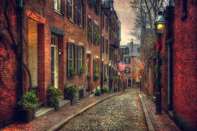 Acorn Street - Boston Poster by Joann Vitali