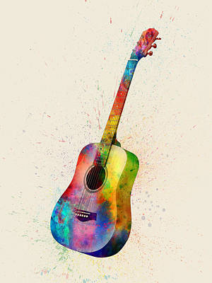 Acoustic Guitar Abstract Watercolor Poster by Michael Tompsett